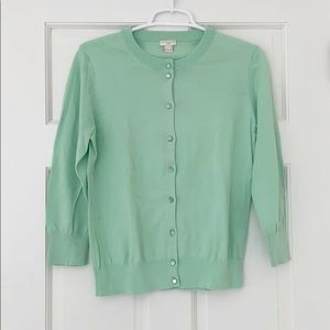 J.CREW Clare cardigan size large green cotton